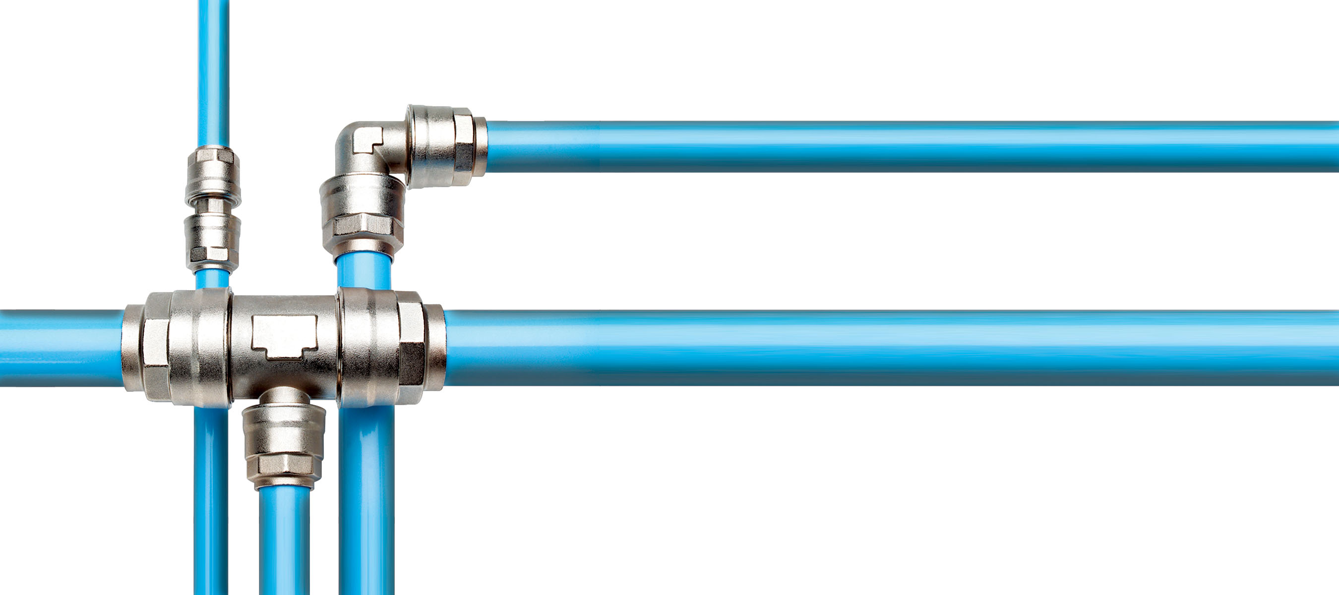 Blue pipes give additional visibility when compared to large amounts of plumbing